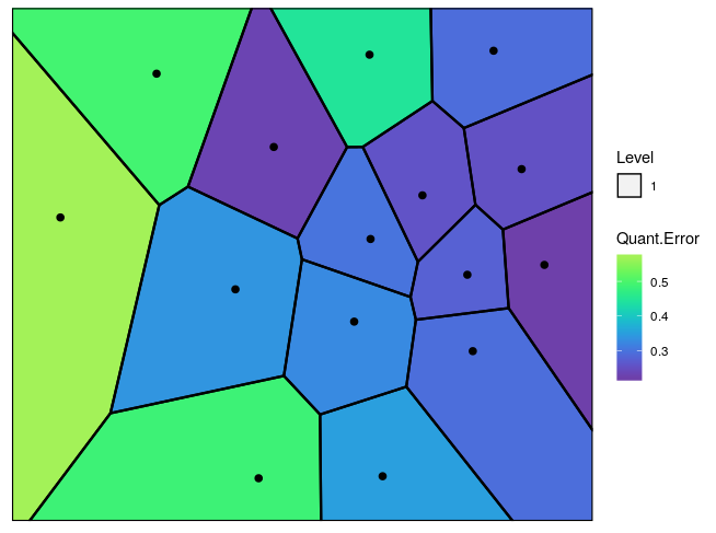 Figure 3: The Voronoi tessellation with the heat map overlayed with variable 'Quant.Error' in the 'computers' dataset