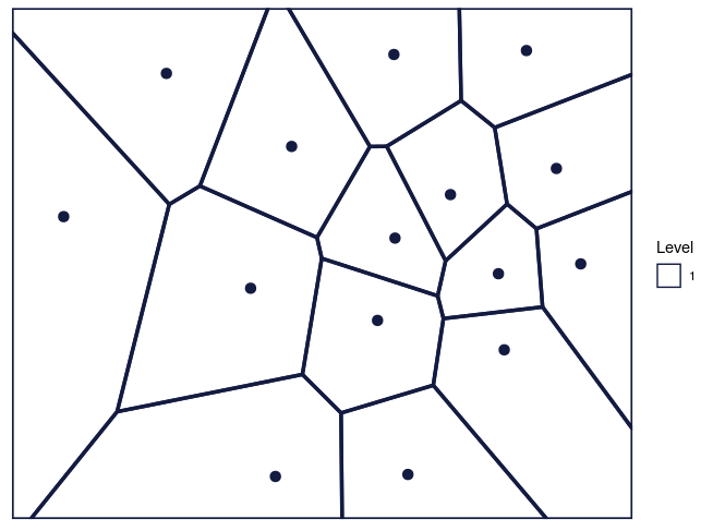 Figure 2: The Voronoi tessellation for level 1 shown for the 15 cells in the dataset 'computers'