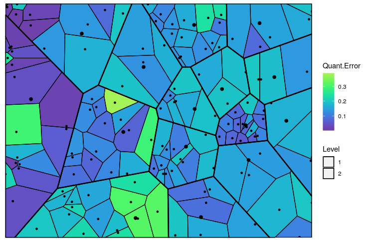 Figure 5: The Voronoi tessellation with the heat map overlayed with variable 'Quant.Error' in the 'computers' dataset